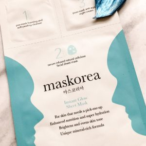 Maskorea Instant Glow Sheet Mask.  Korean influenced 3 step mask.
